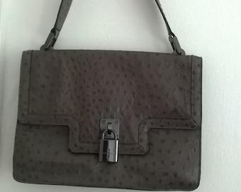 9eedad8f3b VINTAGE OSTRICH Genuine Leather elegant handbag 1970 s