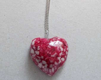 VINTAGE  necklace red stone heart with silver plated chain modern style 1990