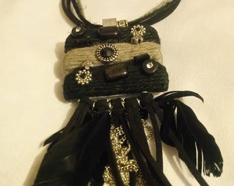 VINTAGE leather, beads, cotton, feathers and metal, tassel pendant with necklace, 1990 style, retro