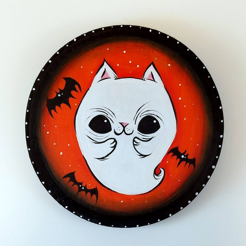 Clover Ghost Kitty Halloween Acrylic on Wood Paintings image 0