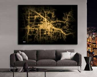 BOZEMAN Montana Night Lights Map Large Horizontal Wall Art Map Bozaman MT Modern Art Neon City Street Map of Bozaman NLM
