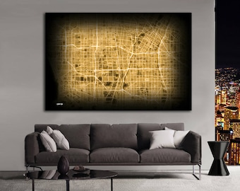 COMPTON California Night Lights Map Large Horizontal Wall Art Map Compton CA Modern Art Neon City Street Map of Compton NLM