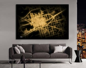 MIDLAND Texas Night Lights Map Large Horizontal Wall Art Map Midland TX Modern Art Neon City Street Map of Midland NLM
