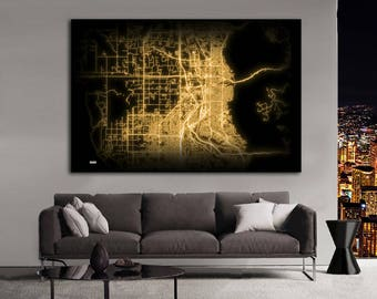 OGDEN Utah Night Lights Map Large Horizontal Wall Art Map Ogden UT Modern Art Neon City Street Map of Ogden NLM