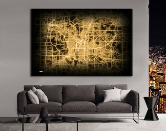 AKRON Ohio Night Lights Map Large Horizontal Wall Art Map Akron OH Modern Art Neon City Street Map of Akron NLM