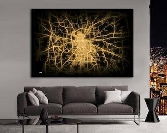 TYLER Texas Night Lights Map Large Horizontal Wall Art Map Tyler TX Modern Art Neon City Street Map of Tyler NLM