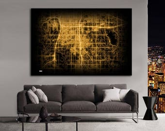MOORE Oklahoma Night Lights Map Large Horizontal Wall Art Map Moore OK Modern Art Neon City Street Map of Moore NLM