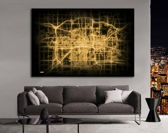 LANSING Michigan Night Lights Map Large Horizontal Wall Art Map Lansing MI Modern Art Neon City Street Map of Lansing NLM