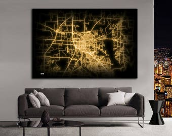 DENTON Texas Night Lights Map Large Horizontal Wall Art Map Denton TX Modern Art Neon City Street Map of Denton NLM