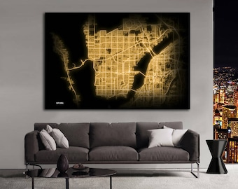 Cape Coral Florida Night Lights Map Large Horizontal Wall Art Map Cape Coral FL Modern Art Neon City Street Map of Cape Coral NLM