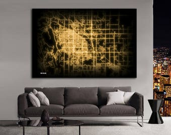 Fort Collins Colorado Night Lights Map Large Horizontal Wall Art Map Fort Collins CO Modern Art Neon City Street Map of Fort Collins NLM
