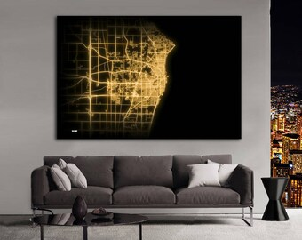 RACINE Wisconsin Night Lights Map Large Horizontal Wall Art Map Racine WI Modern Art Neon City Street Map of Racine NLM