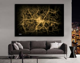 GREENWOOD Mississippi Night Lights Map Large Horizontal Wall Art Map Greenwood MS Modern Art Neon City Street Map of Greenwood NLM