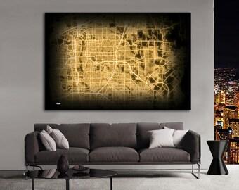PLANO Texas Night Lights Map Large Horizontal Wall Art Map Plano TX Modern Art Neon City Street Map of Plano NLM