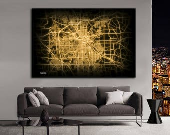 YOUNGSTOWN Ohio Night Lights Map Large Horizontal Wall Art Map Youngstown OH Modern Art Neon City Street Map of Youngstown NLM