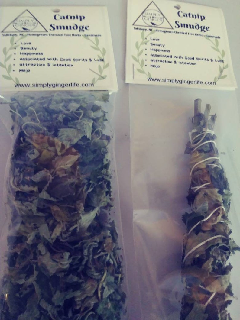 Catnip - All natural Catnip - Catnip Smudge stick Homegrown & Handmade or a  Bag full of Catnip for Cats, Tea, loose smudge, herbal remedies