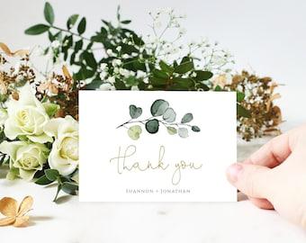 Rustic Wedding Thank You Notes Eucalyptus Wedding Thank You Folded Card Editable Template Watercolor Greenery Printable Cards Boho- BD94
