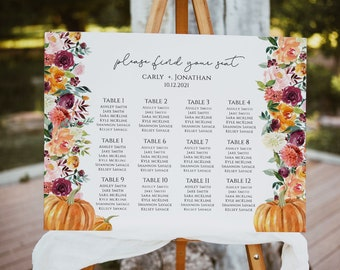 Wedding Seating Chart; Fall Wedding Seating Cards; Autumn Wedding Seating Cards; DIY; Editable; Printable; Instant Download WHITE PUMPKIN