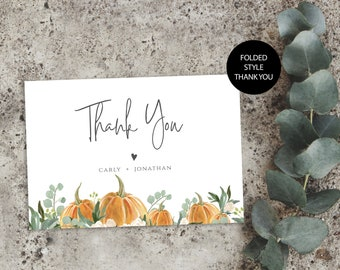 Shower Card Printable Fall Thank You Card Pumpkin Thank You Card Template WLP-OPU 3450 4 x 6 Folded Card Template Instant Download