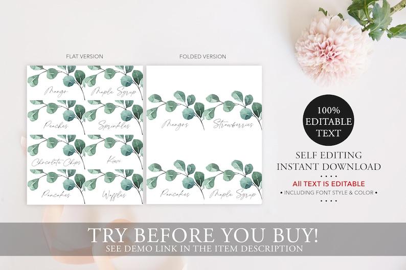 Editable Food Place Card Wedding Buffet Card Instant Download 100/% Editable Text Eucalyptus Food Tent Template PH3