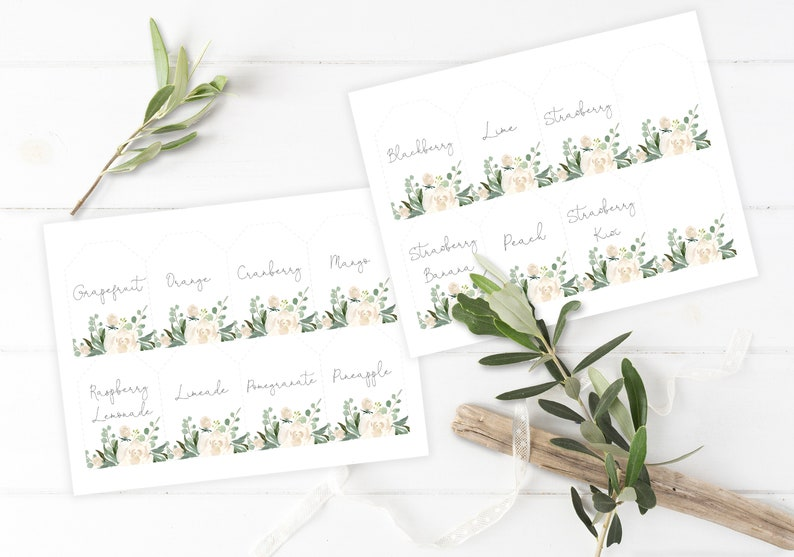 Juice Drink Tags 5x7 P10 Mom-osa Bar sign and Juice Tags 8x10 Greenery Printable White Floral Shower Labels for Bubbly Champagne Bar