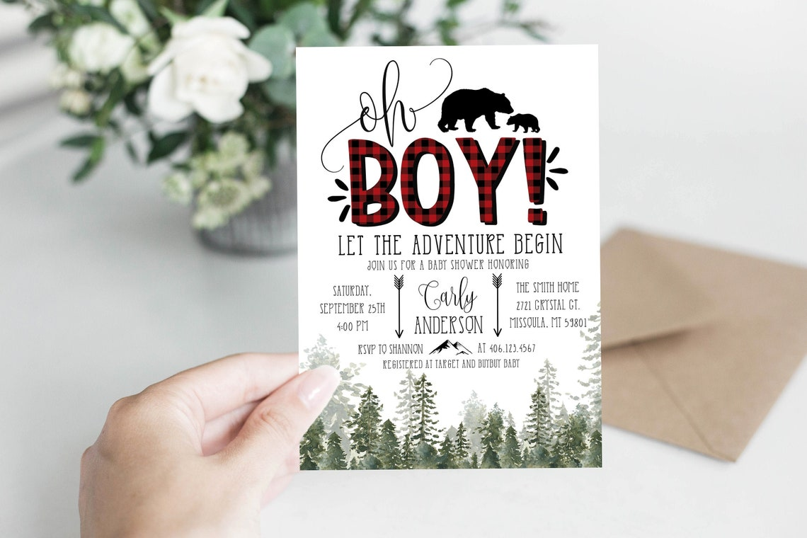 Lumberjack Baby Shower Invitation Editable Buffalo Plaid image 0