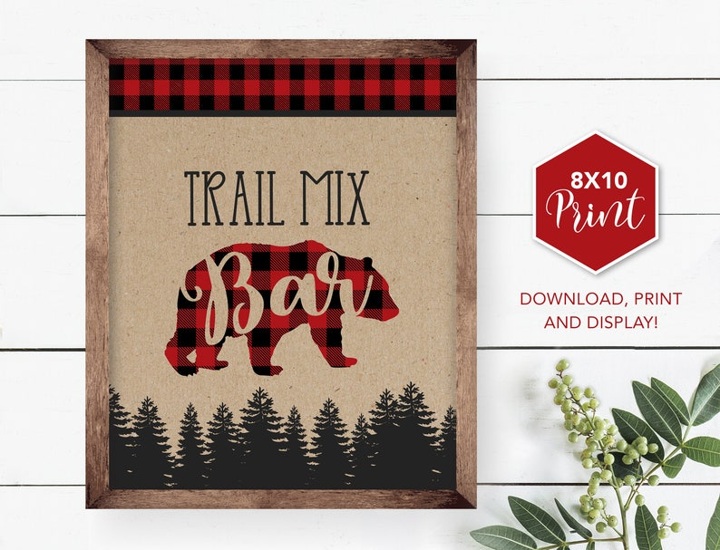 c036f89b59 Lumberjack Trail Mix Bar Table Sign mix your own Buffalo | Etsy