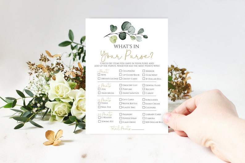 Whats in Your Purse Game Printable, Bridal Shower Game Card, Editable  Instant Download, Eucalyptus Greenery, 100% EDITABLE TEXT, P33