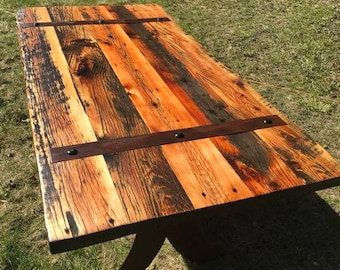 SALE- Modern/Rustic/Farmhouse Handcrafted Barnwood Dining Table with Steel Legs