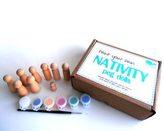 Paint your own peg doll nativity set, DIY, do it yourself
