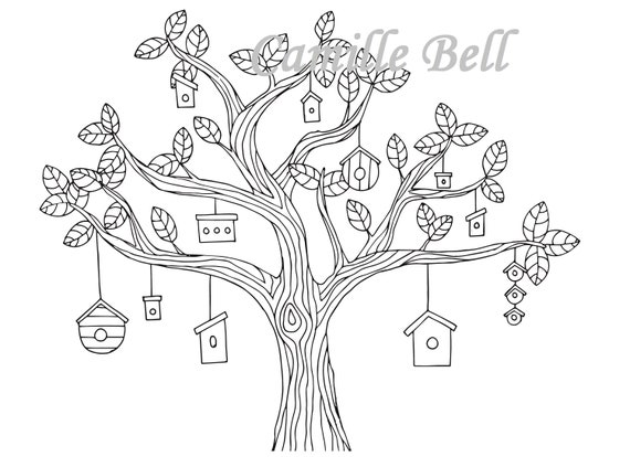 Vogelhaus Baum Malvorlagen Erwachsenen Färbung Seite Etsy