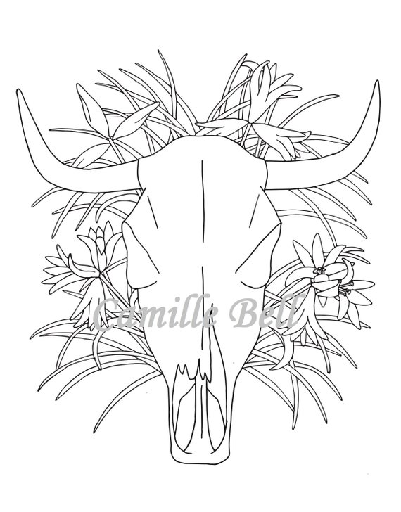 - Cow Skull Coloring Page Adult Coloring Page Download Desert Etsy