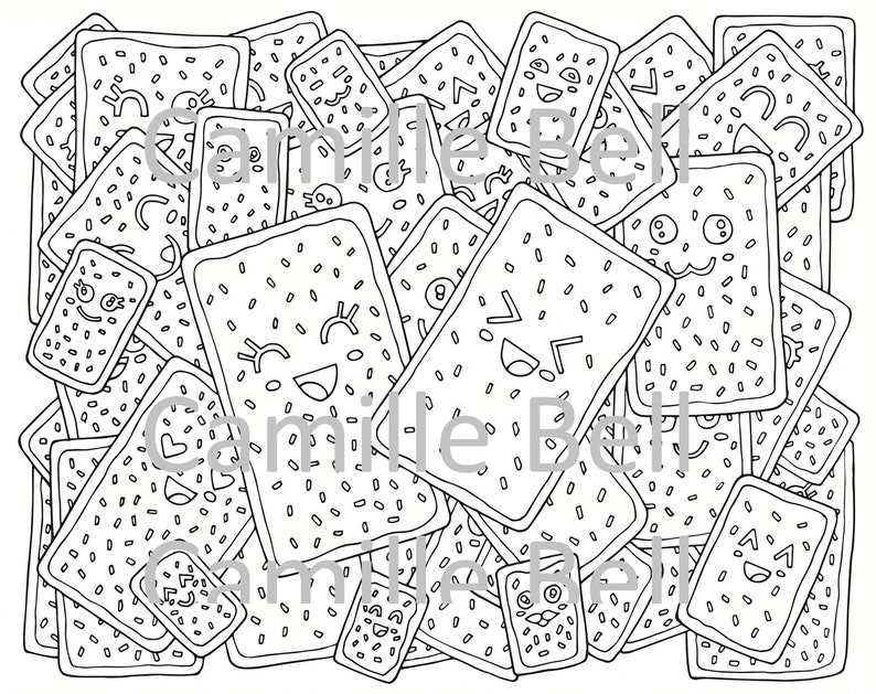 Kawaii Pop Tart Coloring Page For Adults Super Cute Food ...