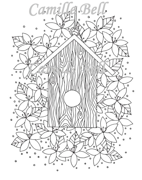 Adult Coloring Page Download Wooden Birdhouse