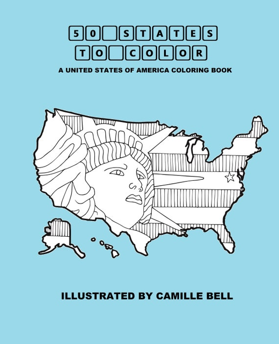 50 States To Color: A United States Of America Adult Coloring Etsy