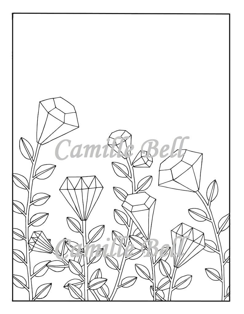 Coloriage Adulte Telecharger.Rubis Roses Coloriage Coloriage Adulte Telecharger Coloriage Etsy