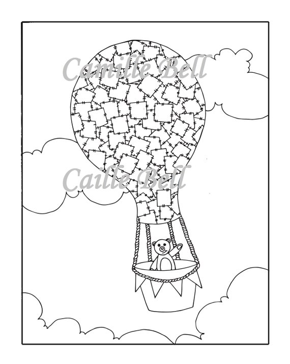 Hot Air Balloon Coloring Page Adult Coloring Page Download Etsy
