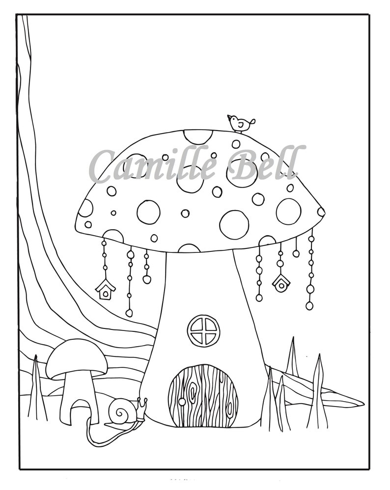 Mushroom Fairy House Coloring Page Adult Coloring Page Download Adorable Coloring Page Garden Coloring Page Fairy House Drawing