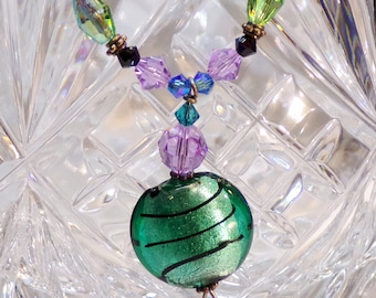 Green Pendent,Swarovski,Bead Necklace,Beaded Necklace, Swarovski Necklace,Swarovski Crystals,Handmade Jewelry,Crystal Necklace,Colored beads