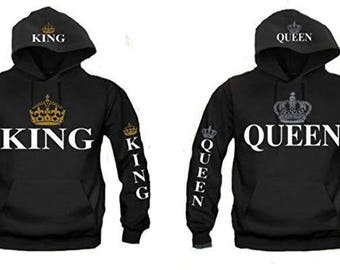 c7e8b7d65ff KING AND QUEEN Matching Couples Unisex Hooded Sweatshirts