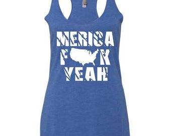 ace4dd6ad8d America Fuck Yeah July 4th Women s Tank top