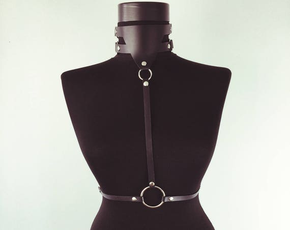 Sexy choker collar with waist belt,Wide leather collar with straps ,Harness leather collar,Leather neck choker,Sexy collar necklace