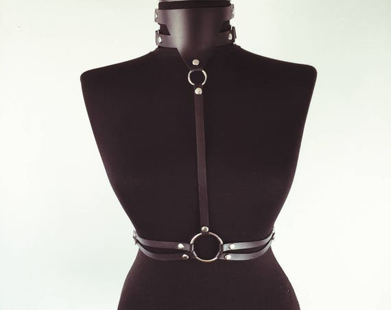Punkchocker with double waist belt,Leather Women Choker,Leather Choker gift,Leather Necklace Ring,Women gift choker,Collar leather harness