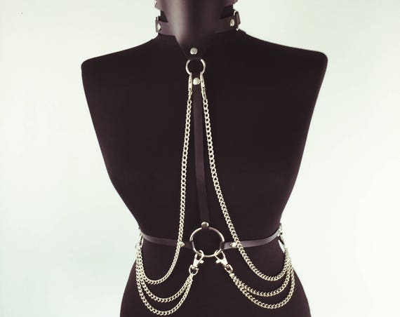 Sexy choker harness with chains,Provocative harness with choker, Sexy choker body harness, Bdsm harness leather choker,Leather harness,Harne