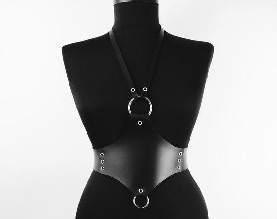 Oversized leather waist belt harness,O ring waist harness belt her, Sexy leather waist belt, Chest leather harness, Sexy leather handmade gi