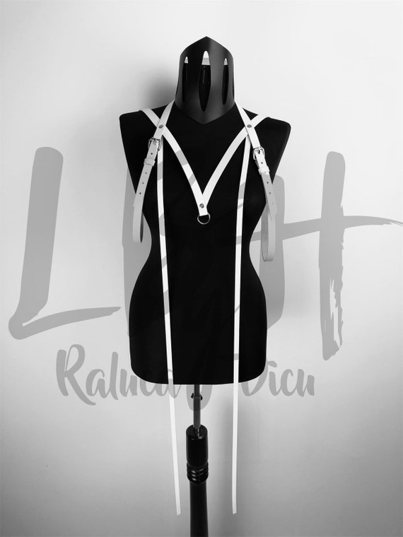 White harness, Leather cage bra, Harness leather, body harness bra, Harness lingerie, Leather harness bdsm, Costume for photoshoot