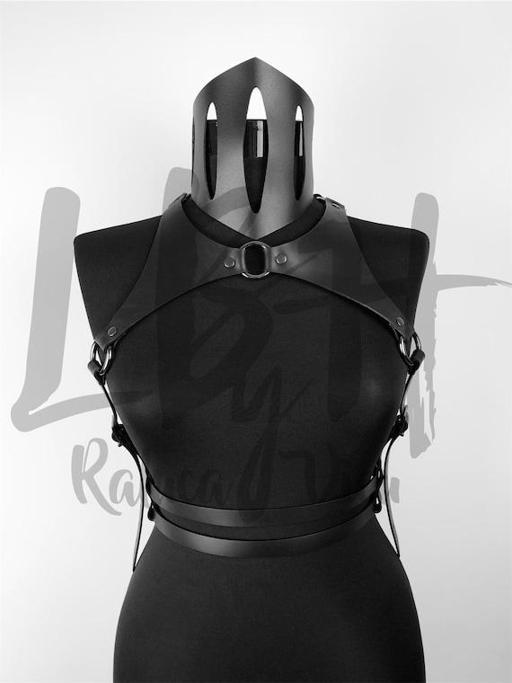 Black Leather Harness , Metal Accessorized Leather Harness, Festival Black Leather Gear,Harness with Waist Belt,Women Belt,Leather Belt