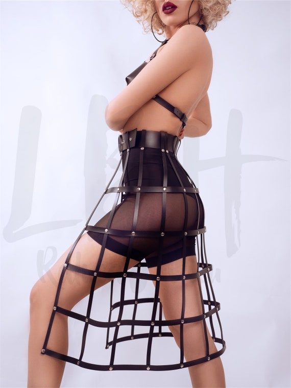 Leather harness dress women,Sexy look leather outfit,Harness with loose straps,Leather lingerie,Leather body dress,Sexy leather look gift