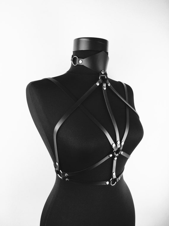 Harness with geometrical collar,Necklace Leather Harness,Cage collar,Fashion harness collar, Sexy leather harness with collar, Leather gift
