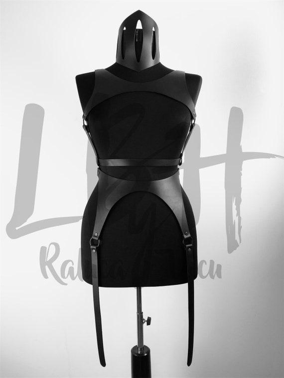 Women body harness,Harness lingerie body, Harness leather full body,Hardcore leather lingerie, Black choker harness, Hardcore fashion setLbh